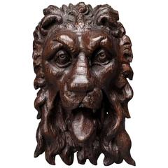 Superb Elizabeth I Carved Oak Lion Mask Mount