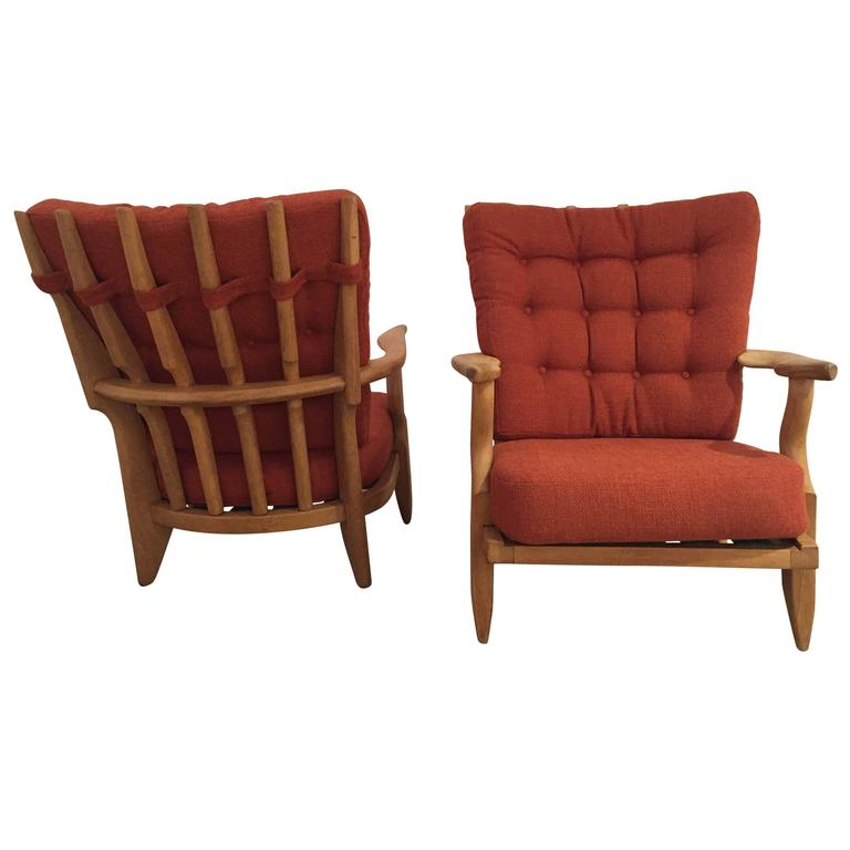 Pair of Armchairs by Guillerme et Chambron For Sale