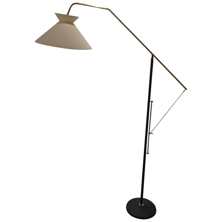 Elegant Mid-Century French Floor Lamp For Sale