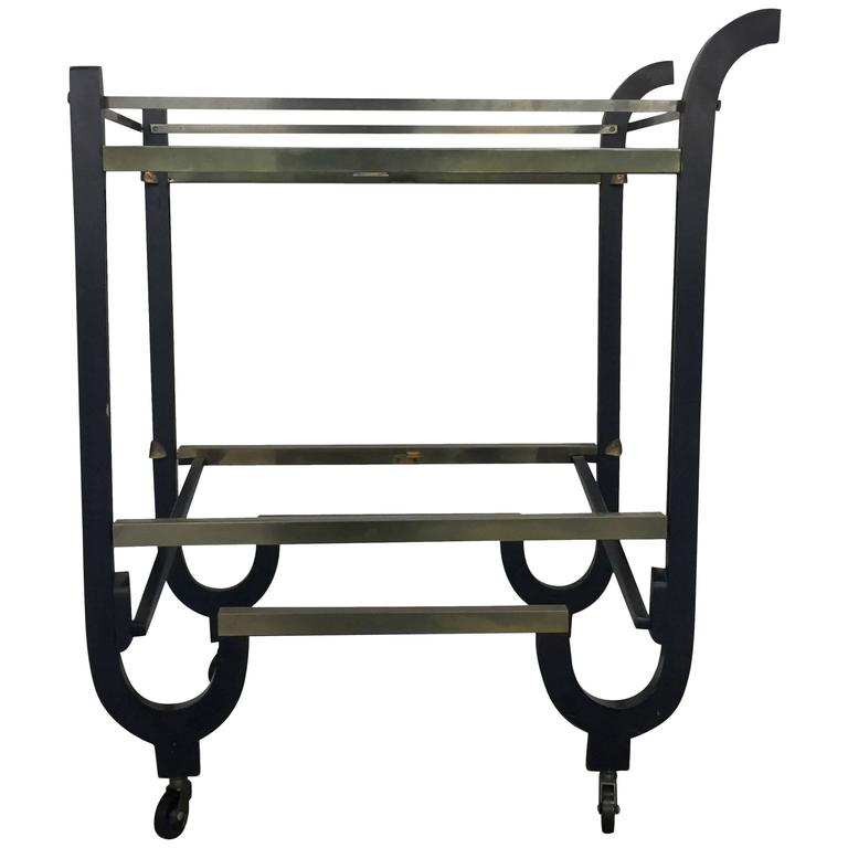 Donald Deskey Art Deco Brass and Ebonized Wood Folding Bar Cart 1