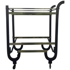 Art Deco Brass and Ebonized Wood Folding Bar Cart