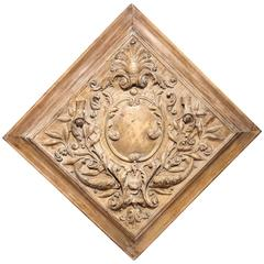 19th Century French Carved Square Panel with Dolphins, Leaves and Centre Crest