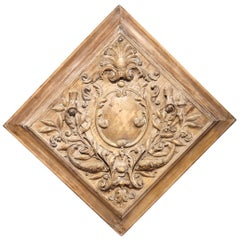 19th Century French Carved Square Panel with Dolphins, Foliage and Centre Crest