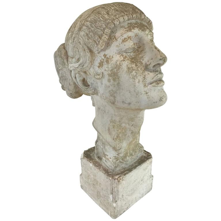 Art Deco Plaster Portrait Bust For Sale