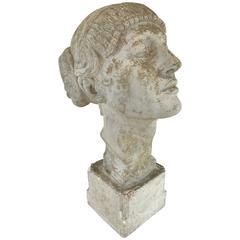 Art Deco Plaster Portrait Bust