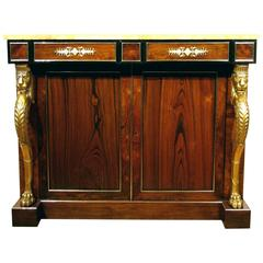 A Fine Regency Rosewood & Parcel-Gilt Side Cabinet in the Manner of George Smith