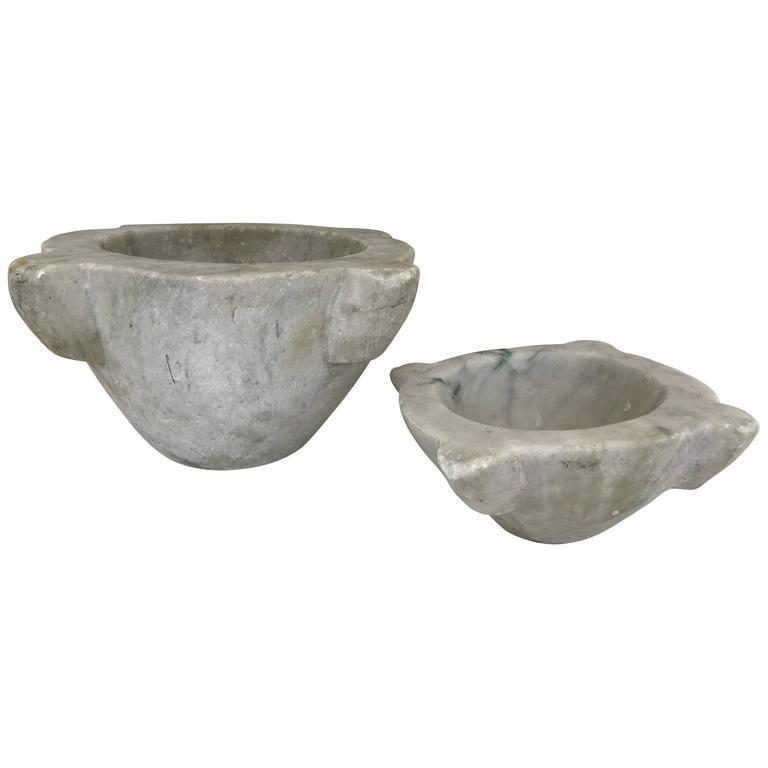 Large Pair of 18th Century Italian Marble Mortars