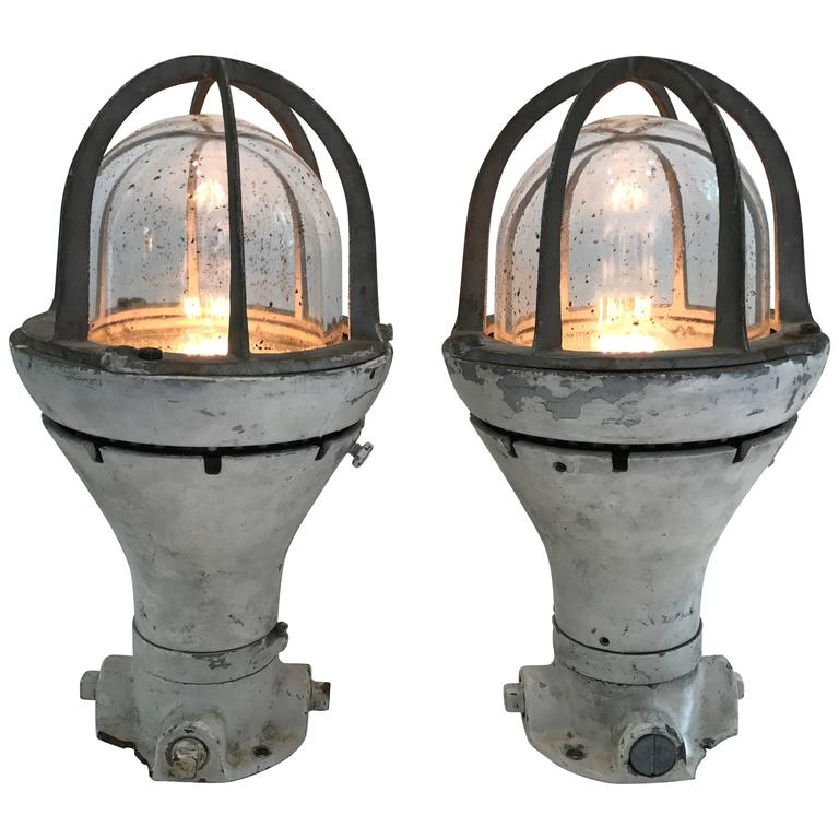 Pair of Vintage Blast Proof Lamps For Sale