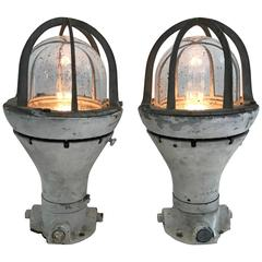 Pair of Vintage Ship Deck Lights