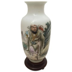 Chinese Republic Miniature Poem Famille Rose Vase with Qainlong Mark