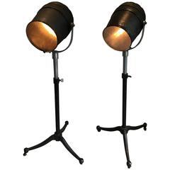 Vintage Pair of Studio Spotlight Floor Lamps