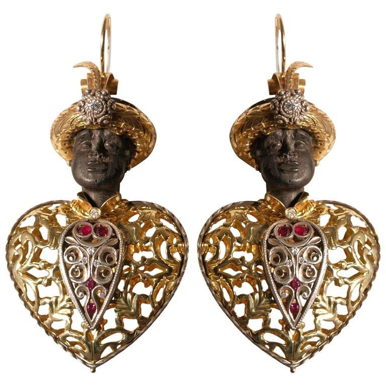 Antique Venetian Earrings Blackamoors 750 Gold Burnished Silver Ebony