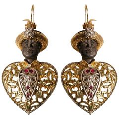 Antique Venetian Earrings Blackamoors 750 Gold Burnished Silver Ebony
