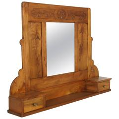 Art Nouveau Wall Mirror in Hand-Carved Blond Walnut with Shelf and Two Drawers