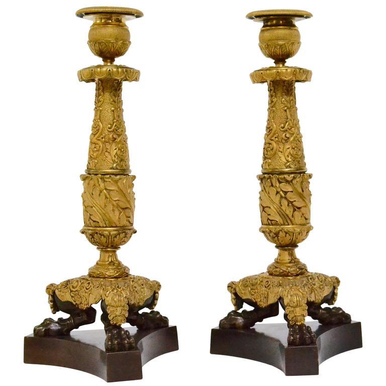 Pair of Gilt-Bronze Empire Candlesticks