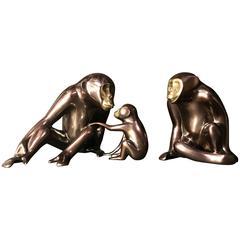 Loet Vanderveen Bronze Chimpanzee Sculptures