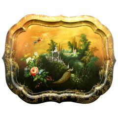 Mid-19th Century Hand-Painted Papier-Mâché Tray