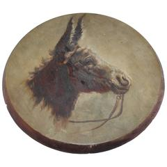 19th Century Original Oil Painting of a Donkey on Board