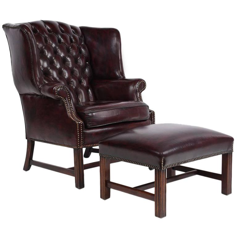 Chesterfield tufted leather wing back chair and ottoman for Tufted leather chair design