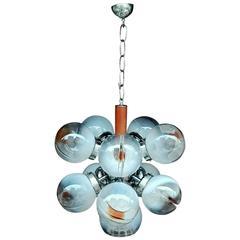 Art Glass Globe Sputnik Chandelier by Mazzega