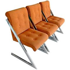 Chrome and Velvet Z-Chairs by Milo Baughman for DIA