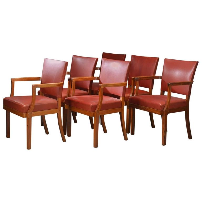 1935 Kaare Klint Barcelona Armchairs in Mahogany and Red Leather - Rud Rasmussen