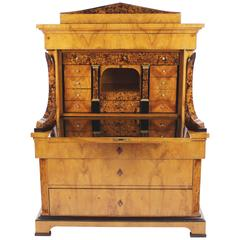 Biedermeier Period Secretary, Ash Veneer on Oak Body, circa 1820