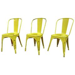Vintage 1950 Tolix Chairs Yellow Patina