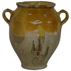 French, 19th Century Ceramice Glazed Confit Jar