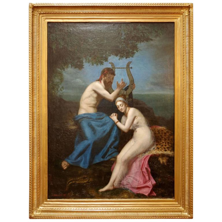 """""""Orpheus and Eurydice"""" Oil on Canvas, Signed and Dated A.M Roucole, 1877"""