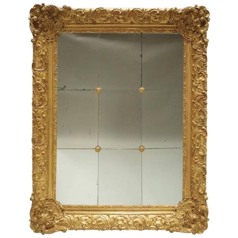 Great Regency Style Giltwood And Stucco Mirror With Rosettes Circa 1870 For