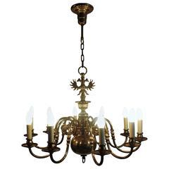 Large Baroque Dutch Ten-Light Brass Chandelier