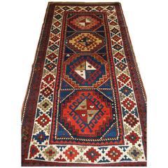 Antique Caucasian Kazak Long Rug or Short Runner from the Western Caucasus