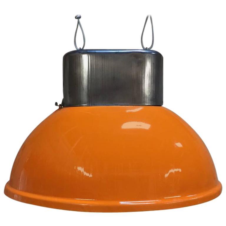 Set of Industrial Vintage European Original Orange Steel Pendant Lamps