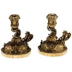Antique 20th Century Continental Solid Silver Gilt Pair of Figural Chambersticks