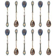 Antique Russian Solid Silver Plique a Jour & Cloisonné Enamel Spoons, circa 1890