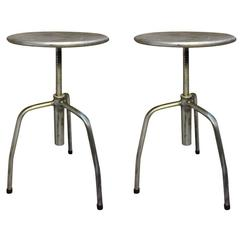 Set of Original and Vintage Industrial European Steel Stools