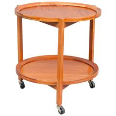 1960s Sika Møbler Midcentury Teak Round Serving Trolley Cart Inc. Two Trays