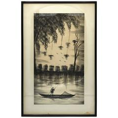 1950s Asian Fisherman and Weeping Willows Pen and Ink Sketch, Framed