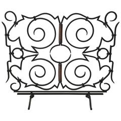 1960s Modernist Iron and Copper Fire Screen