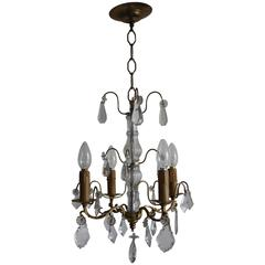 French Chandelier Louis XVI Style Brass and Cut Crystal, circa 1930s