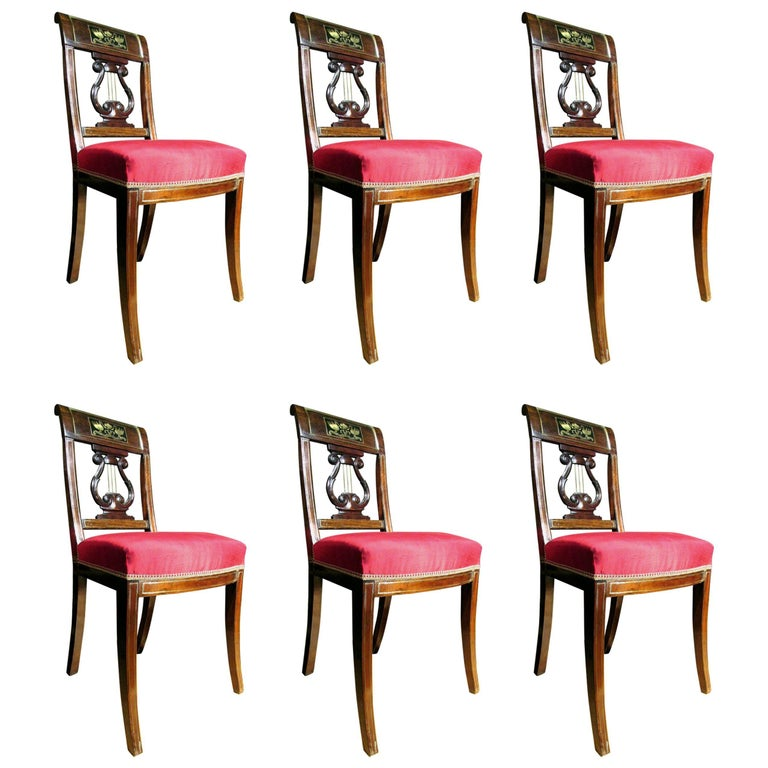 Set of Six Directoire Period Brass Inlaid Mahogany Dining Chairs, Circa 1800 For Sale