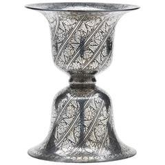 Antique Indian Silver Inlaid Bidriware Spittoon 19th Century