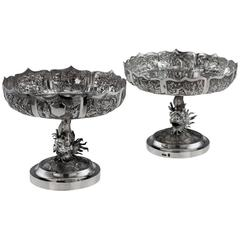 Antique Chinese Export Solid Silver Pair of Tazzas, Wang Hing, 1890