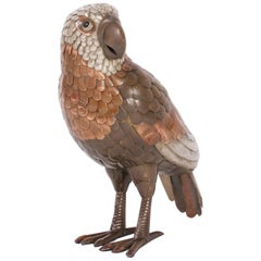 Brass and Copper Parrot Sculpture in the Style of Bustamante