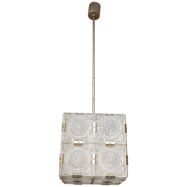 Vintage Kalmar Glass Square Pendant