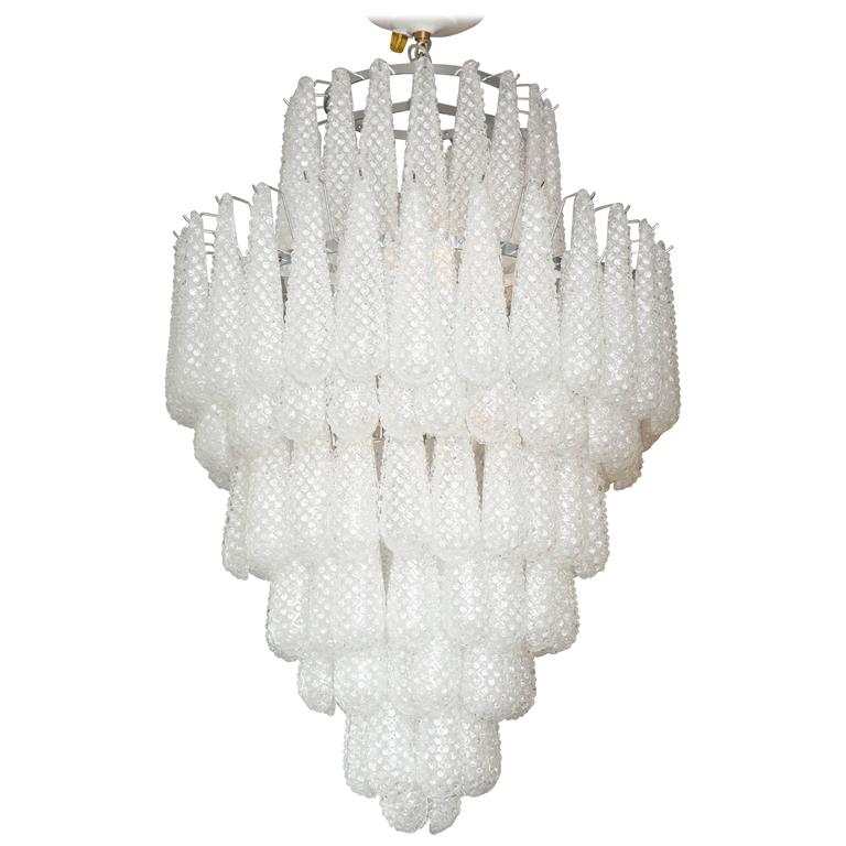 Gorgeous Murano Honeycomb Glass Pendant Chandelier For Sale