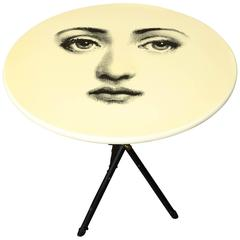 Vintage Fornasetti Side Table with Iconic Face and Original Label