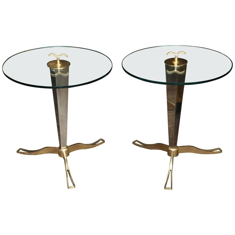 Pair Of Italian Brass And Chrome Occasional Tables 1