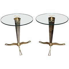 Pair of Italian Brass and Chrome Occasional Tables